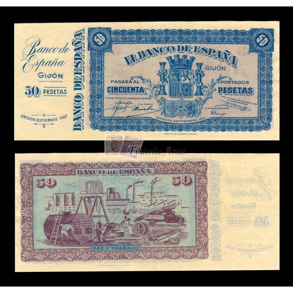 50 pesetas 1937 - Banco de Gijón