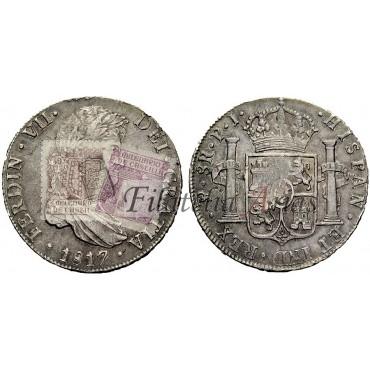 Fernando VII. 8 reales. 1817. Potosí. Resello portugal.