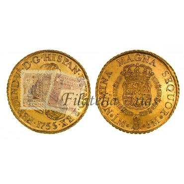 Fernando VI. 8 escudos. 1755. Lima.