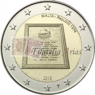 2€ 2015 Malta - 1974 República