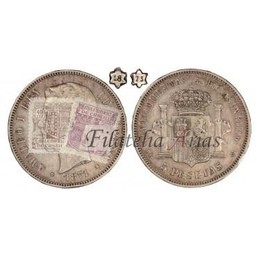 Amadeo I. 5 pesetas. 1871*73