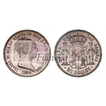 Isabel II. 20 reales. 1855. Madrid.