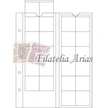 Hojas OPTIMA, para 12 cartones de monedas 50x50 mm, transparentes